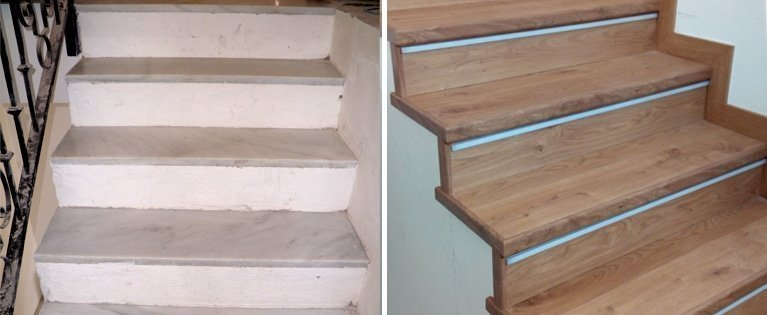 The before and after of some indoor stairs