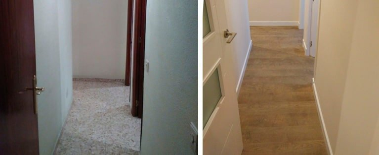 el antes y después de un pasillo